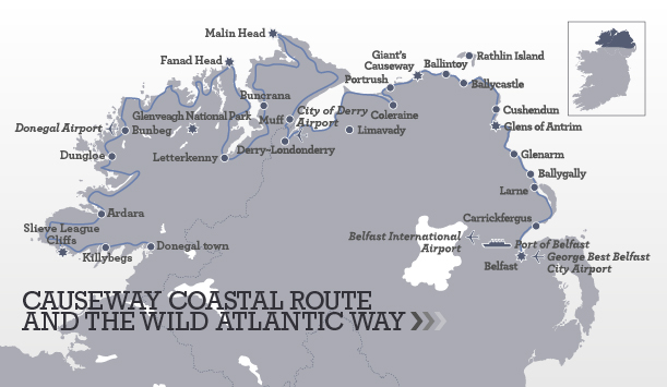 Causeway Coastal Route and Wild Atlantic Way Itinerary Map