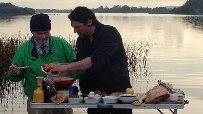 Colin cooks famous Fermanagh Black Bacon with pig farmer Patrick O'Doherty