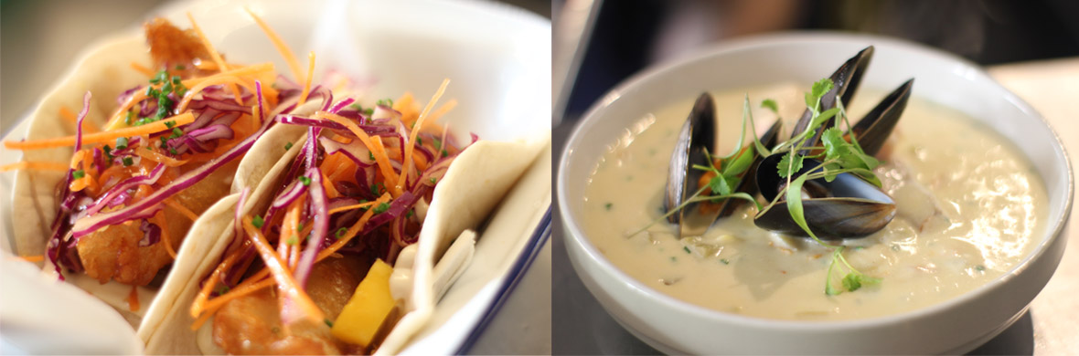 Fish tacos and chowder at Fisk restaurant Donegal