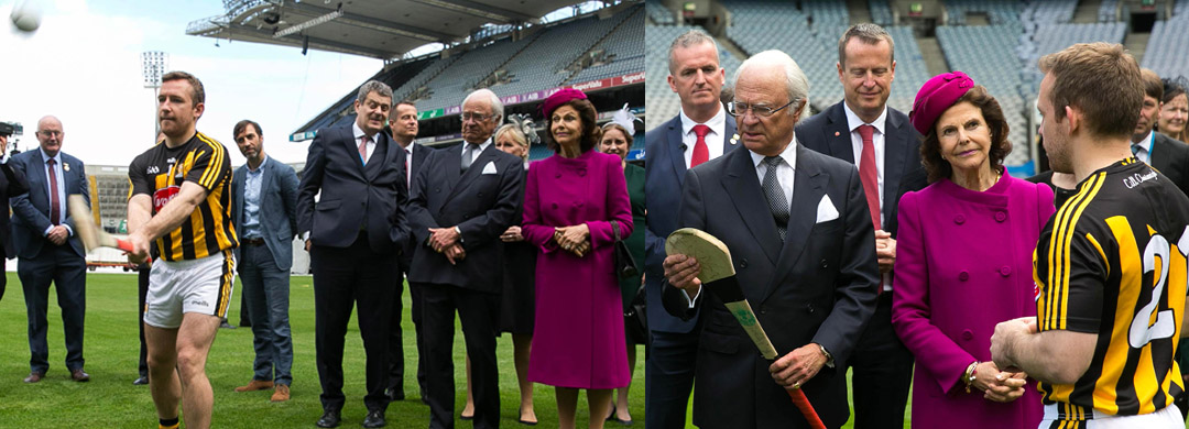 Their Majesties the King and Queen of Sweden at Croke Park for GAA demonstration - Hurling