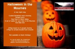 Enjoy a 2 night BB Halloween in the Mournes stay with the Mourne Lodge Co Down from 75 pp