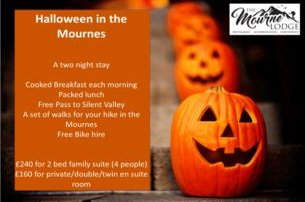 Enjoy Halloween in The Mournes with a 2 night BB stay with The Mourne Lodge Co Down from 160 pp