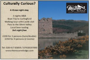 Culturally Curious Enjoy a 3 night BB stay with The Mourne Lodge Co Down from 200 per couple