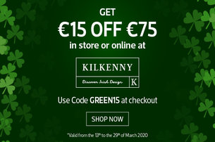 Enjoy the best of Irish Design with a 15 off 75 Coupon on www.kilkennyshop.com using code GREEN15