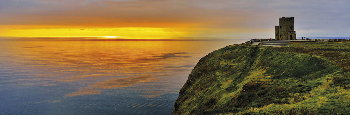 Sunset at O'Brien's Tower, the Cliffs of Moher, County Clare