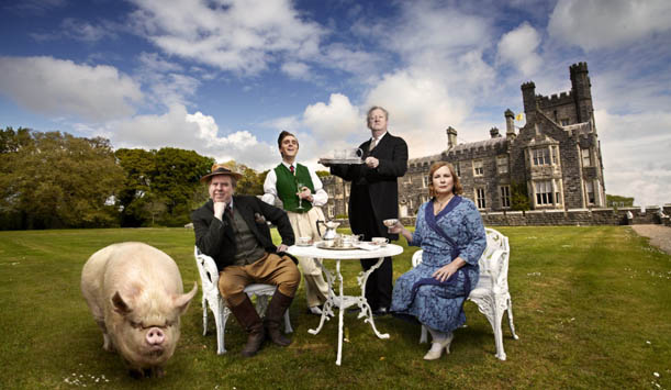 The Blandings cast, including pet pig The Empress, on the lawn of Crom Castle