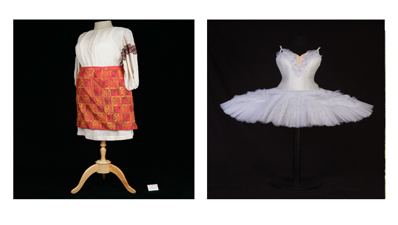 Bolshoi costume used in Semyon Kotko and a Swan Lake tutu on the right