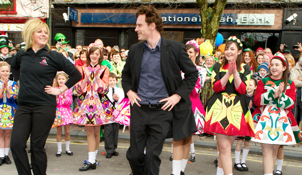 Michael Fassbender dancing a jig in Killarney town! provided by Kerry's Eye Newspaper