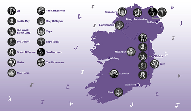 Hostels Ireland Map.Take A Look At The Most Rock And Roll Landmarks Around Ireland