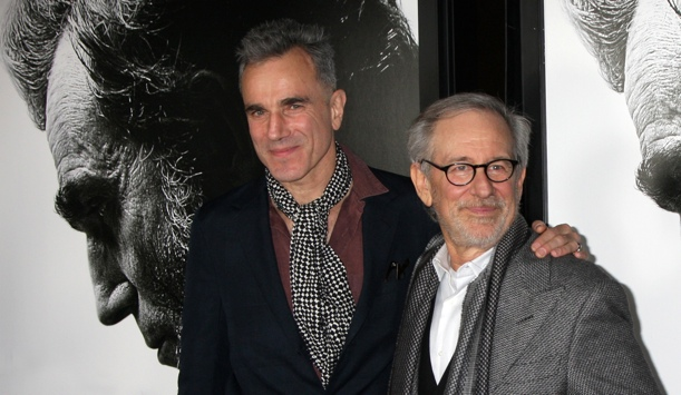 Daniel Day-Lewis and Steven Spielberg at the premiere of Lincoln on November 8, 2012 in Los Angeles