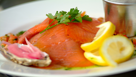 Fresh salmon and oysters with lemon, County Cork