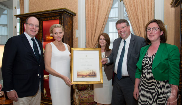 Princess Charlene is presented with a Certificate of Irish Heritage.