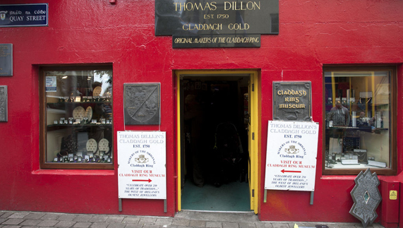 Thomas Dillon's Claddagh Gold shop and workshop Galway city