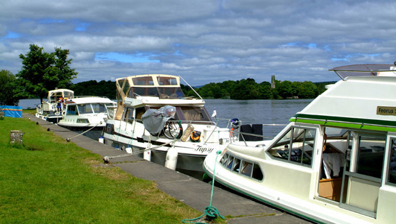 Moored among lush landscape at Lough Key