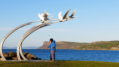 Children of Lir Public statue at Ballycastle