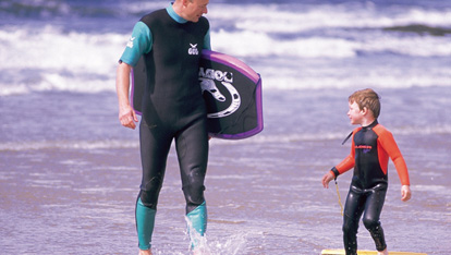 Family surfing at Bundoran, County Donegal
